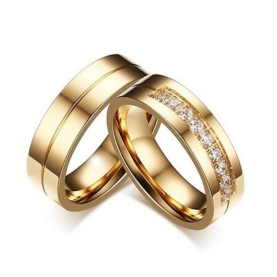 New CZ Couple Gold Stainless Steel Lover's Her and His Wedding Promise Band ring