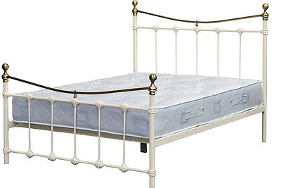 "Metal Cream 4'6"" Double, 5.0 King Size Bed with Black Silver Gold Antique Brass"
