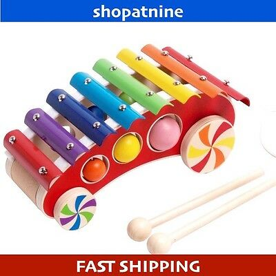 Wooden Car Toy  Pull A Long  Xylophone Musical instrument 4 Children/Kids