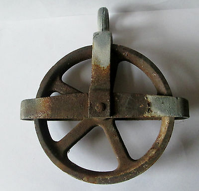 Vintage Small Cast Iron Clothes Barn  Pulley 5 Inch Antique  Steampunk Wheel