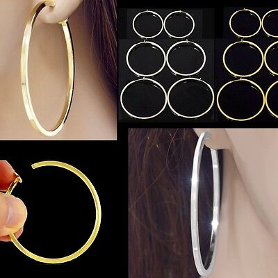 #E121B New Women FAKE PIERCING CLIP ON Hoop EARRINGS Spring Closure Big or Small