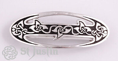 Ivy Leaf Celtic Knot Pewter Hairslide by St Justin, Cornwall UK  PH11