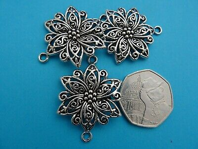 40mm hollow gold tone or antique silver filigree flower connectors findings