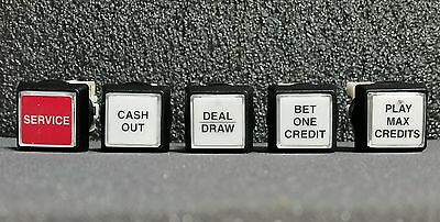 """IGT S+ S2000 Game King Slot Machine Set of 5 Square 1""""  Buttons"""