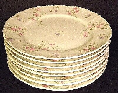Imperial H&C Carlsbad Austria Eight Vintage 9.5 inch Dinner Plates Pink Floral
