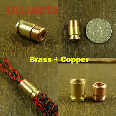 brass + red copper bullet shaped Parachute Cord Knife Tool Lanyard Bead pendant