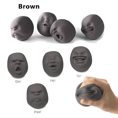 1 Pc Novelty Stress Pressure Reliever Anti-stress Squeeze Human Face Ball Grey