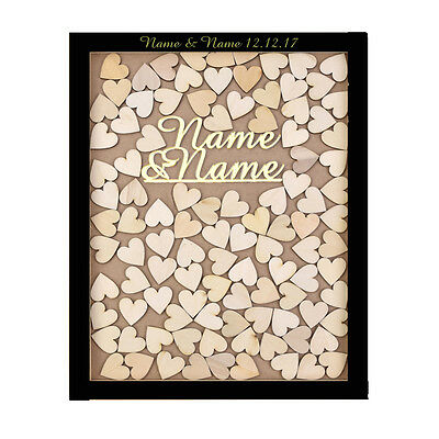 Personalized Name&Name Engraved Wedding Drop Top Frame Guest Book Wooden Heart