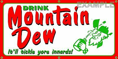 Mountain Dew Old School Retro Vintage Sign Remake Banner Shop Garage Art 2 X 4