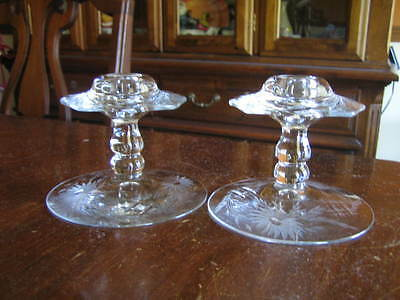 """1920'S HEISEY """"PLUTO"""" CANDLEHOLDERS with ENGRAVED FLORAL DECORATION - SET OF 2"""