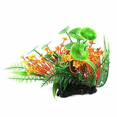 Sourcingmap Aquarium Landscaping Artificial Lotus Leaves Ornament, Green/Orange