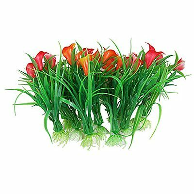 Sourcingmap Plastic Aquarium Flower Grass Ornament Fish Tank Plants, 10-Piece