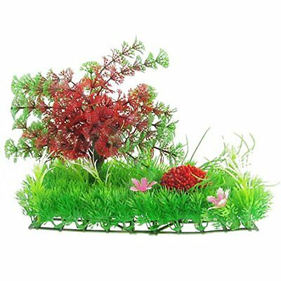 Sourcingmap Plastic Aquarium Snow Flake Leaf Plants Lawn Decor Crimson, Green