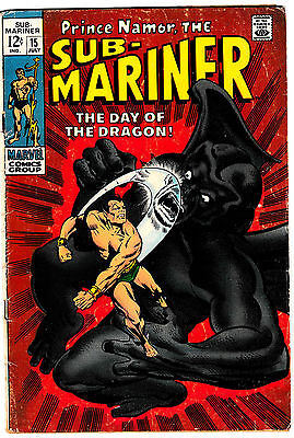 SUB-MARINER #15 (VG) Dragon Man! Last 12 cent Issue! Silver-Age Classic 1969