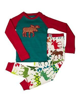 Lazy One Kids Children PJ Pajamas Sleepwear Patterned Moose Red Blue New
