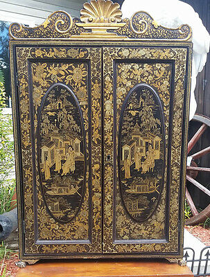 Antique Chinese Lacquer 6 Drawer Chest Cabinet High Gold Decorated C-1890