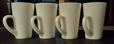 "Vintage White Milk Glass Coffe Cup/Mug Set of 4 5"" Tall"
