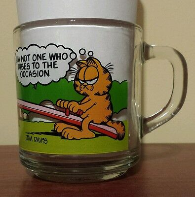 Vintage 1978 Garfield & Odie McDonalds Glass Coffee Cup Mug Jim Davis