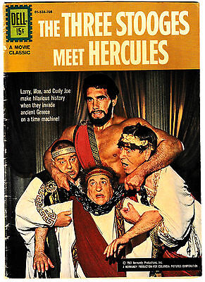 THREE STOOGES MEET HERCULES 1 SHOT (VG/FN) Photo Cover! DELL 1962 Movie Classic