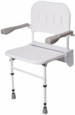 NRS Healthcare Wall Mounted Folding Shower Seat M53370 - with Legs, Back & Arms