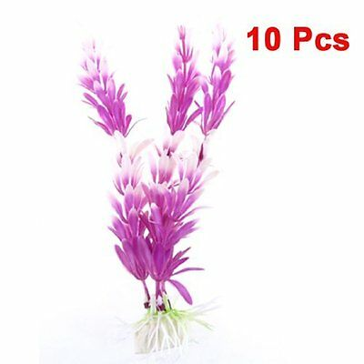 sourcingmap 10 Pcs Aquarium Artificial White Purple Plastic Plants Decoration 5""