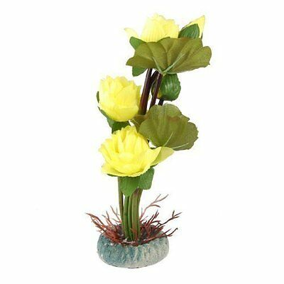 Aquarium Yellow Lotus Flower Green Leaves Artificial Water Plant Decor