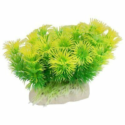 sourcingmap Aquarium Tank Plastic Artificial Grass Plant Green Yellow 3.9""