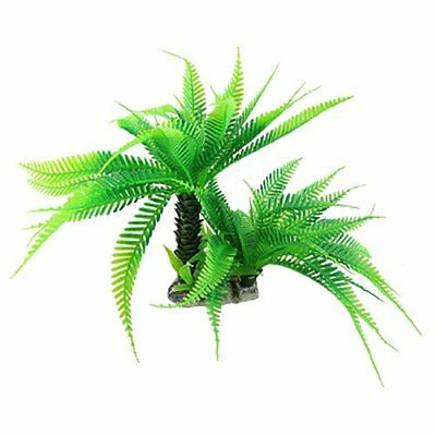 Fish Tank Artificial Coconut Palm Aquascaping Plants Decor w Ceramic Base