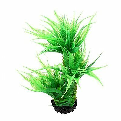 Plastic Fish Tank Artificial Plant Ornament 12.2-inch Height Green