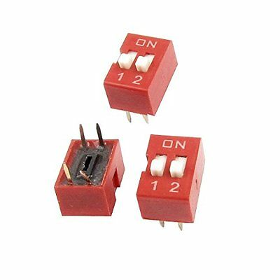 Slide Type 2 Row 4 Pin Terminals 2 Positions PCB DIP Switch 3 Pcs
