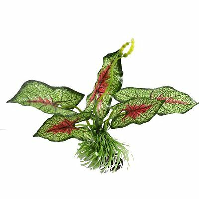 sourcingmap Fabric Aquarium Water Plants Decor, 6.7-inch, Green/ Red