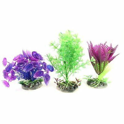 Sourcingmap Plastic Aquarium Plant/Grass Decor, 4.3-inch, 3 Pieces, Purple/ Gree