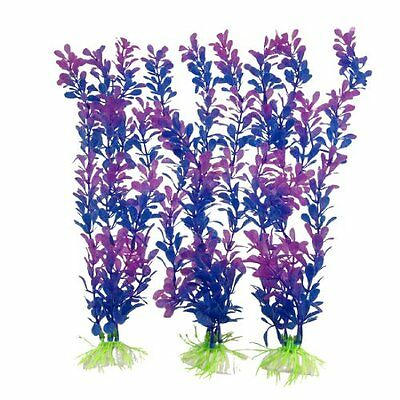 sourcingmap 3 Pcs Purple Blue Soft Plastic Aquascaping Plants for Fish Tank