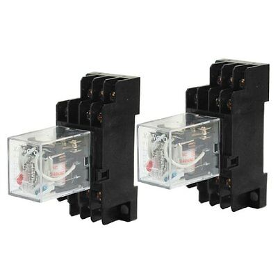 2pcs HH53P AC 220/240V 3PDT Red LED DIN Mounted Power Relay w Socket