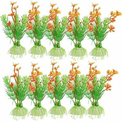 Sourcingmap Plastic Aquarium Water Plant, 4.3-inch, Pack of 10, Green Orange
