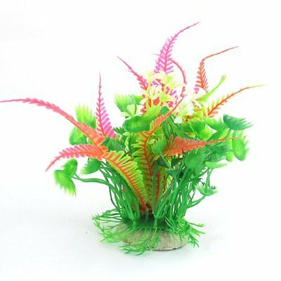 Sourcingmap Tank Simlation Grass Plant Ornament, 6.1-inch, Green/ Pink