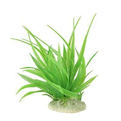 sourcingmap Plastic Aquarium Emulational Grass/ Plant with Ceramic Base, Green