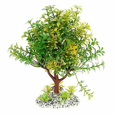 Sourcingmap Tree Shaped Aquarium Landscaping Water Plant, 18 cm, Green/Yellow