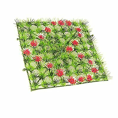 Sourcingmap Flower Heart Decor Fish Tank Manmade Square Grass Lawn, Red/Green