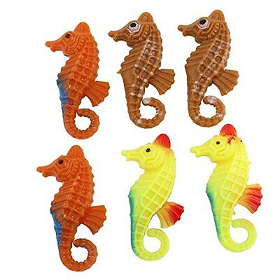 Sourcingmap Plastic Aquarium Fish Tank Mini Seahorse Ornament, Tri-Color, 6 Piec