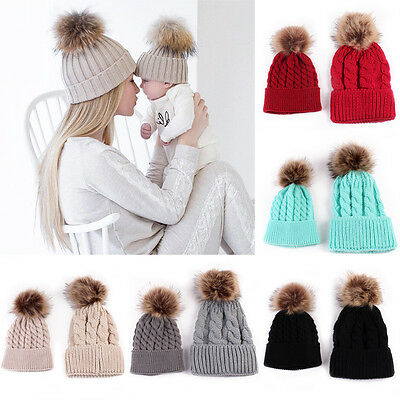 Winter Warm 2PCS Mother & Baby Wool Fur Cap Pompom Ball Newborn Knitted Hats