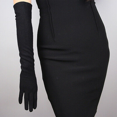 Womens Vintage Soft Cashmere Wool Elbow Long Gloves Evening/Dinner Party Gloves
