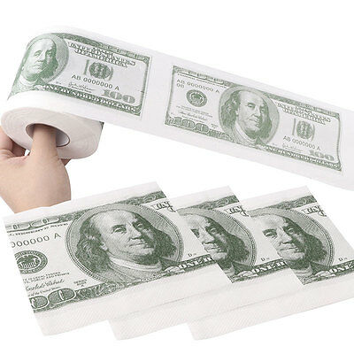 One Hundred Dollar $100 Toilet Paper Money Bill Roll two ply printed Funny Gift