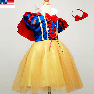 New Kids Girls Snow White Princess Dress Christmas Party Fancy Cosplay Costume