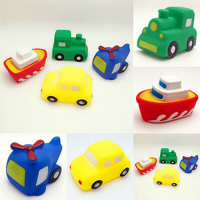 Cute Baby Toddler Vehicles Bathtime Floating Squeaky Sqeeze Bath Toys Water Play