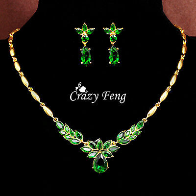Women 18k Gold Plated Zircon Crystal Wedding Jewelry Sets Necklace Earrings Set