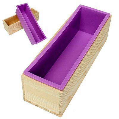 Rectangle Soap Silicone Mold + Wood Box Toast Loaf Bread Cake Mould Baking Too