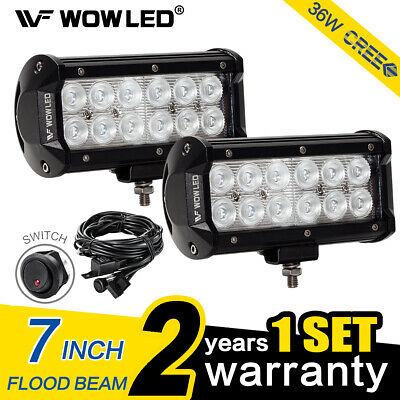 WOW - 2 X 36W LED Offroad Driving Work Lamp Bar Flood Truck Car Light + Wiring