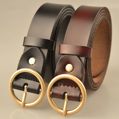 Kids/Childrens Cow Leather Round Ring Buckle Waist Belts Kids Teenager Xmas Gift
