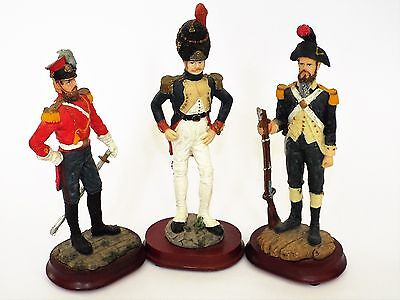 """3 Napoleonic or Similar Soldier Resin Painted Figures, 1:12, 6"""" on Plinths"""